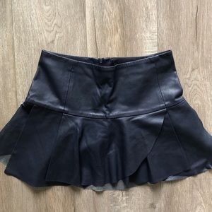 Dark blue leather skirt from Zara